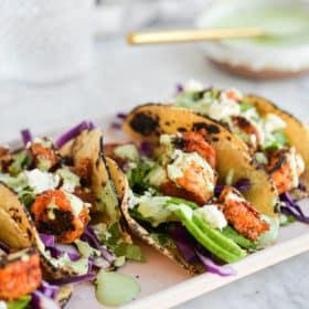 Easy Shrimp Tacos with Cilantro Citrus Sauce