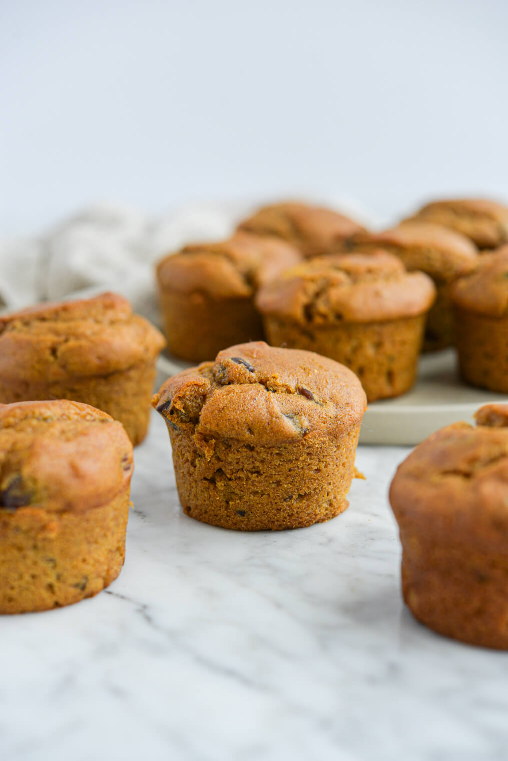 the side view of 10 pumpkin chocolate chip muffins all sitting on a marble surface