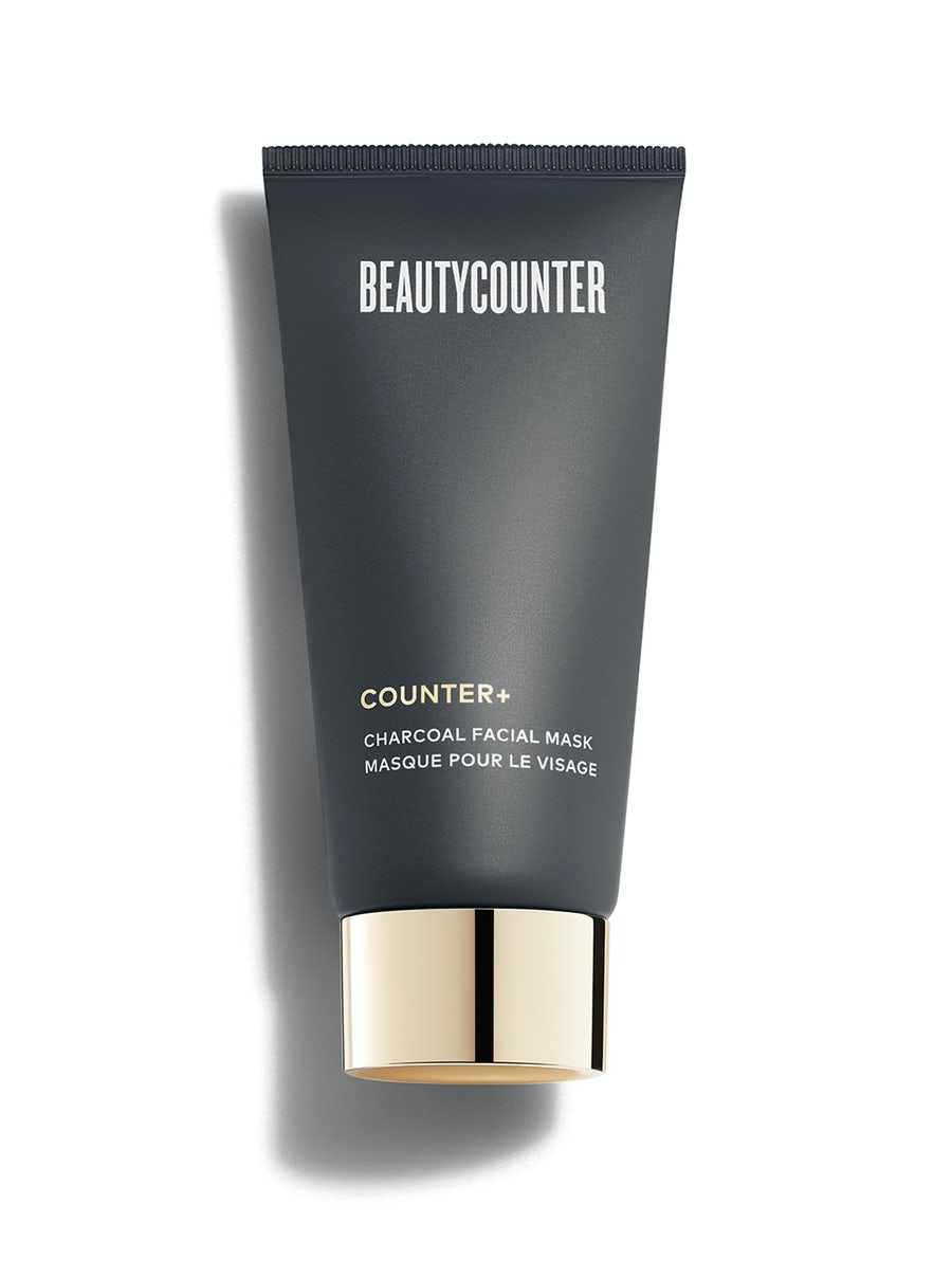 black tube with a gold cap containing beautycounter's charcoal face mask