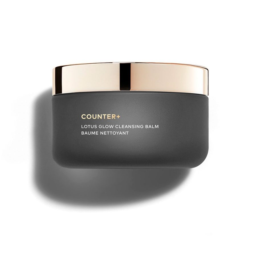 a black jar with a gold lid containing beautycounter cleansing balm