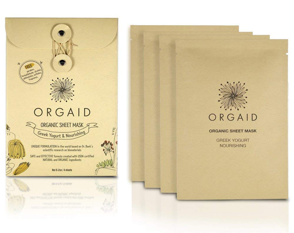 orgaid sheet masks in brown paper packaging