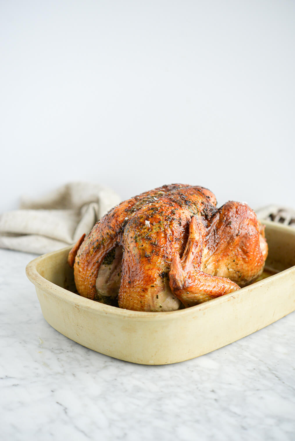 the side view of a whole roasted turkey sitting in a stone baking dish