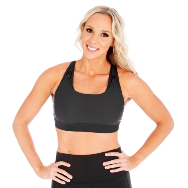 woman wearing the love and fit athena nursing sports bra