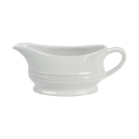 white stone gravy boat on a white surface