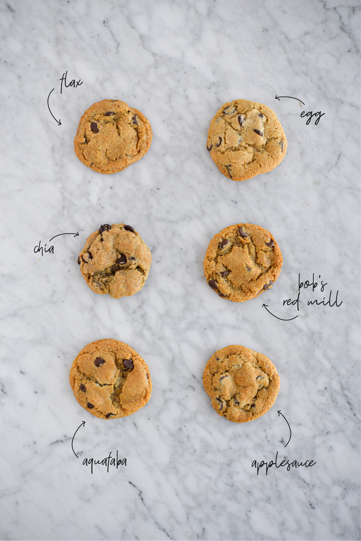 6 cookies lined up in 2 rows on a marble surface to compare different egg substitutes