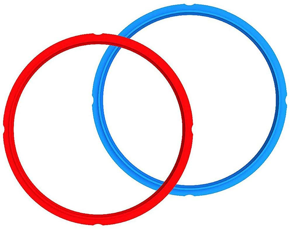 red and blue silicone rings laying over one another