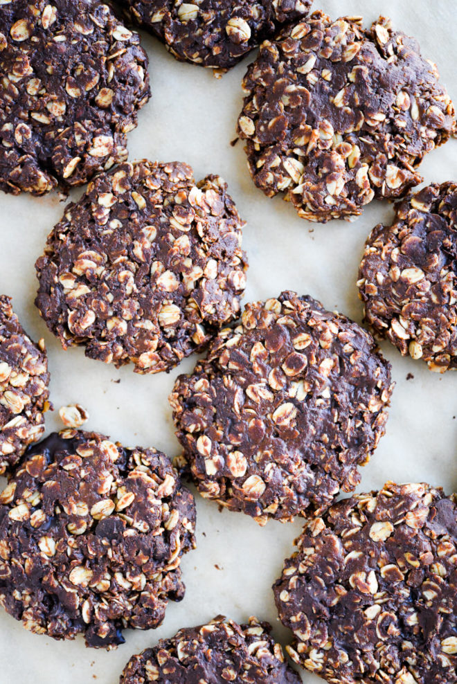 finished no bake oatmeal cookies sitting on parchment paper