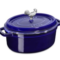 blue staub enameled cast iron cocotte