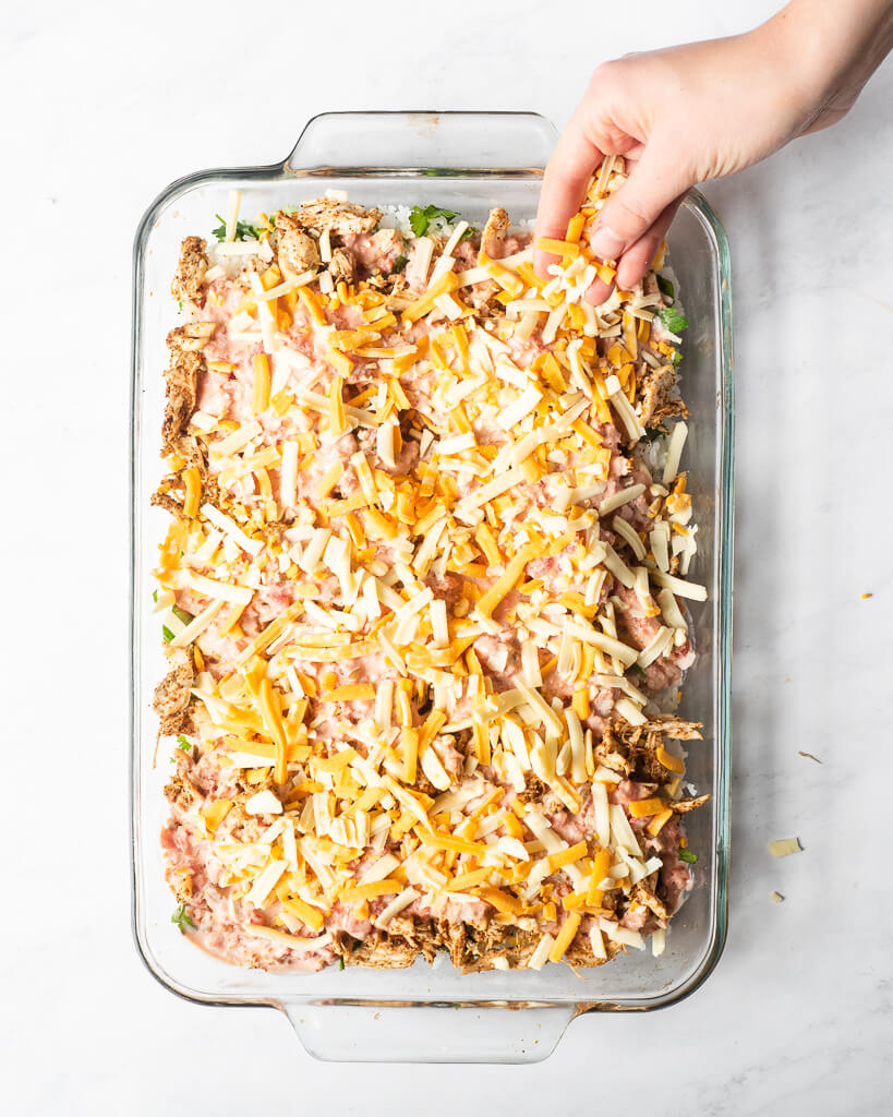 a full serving dish of chicken taco casserole just before going into the oven