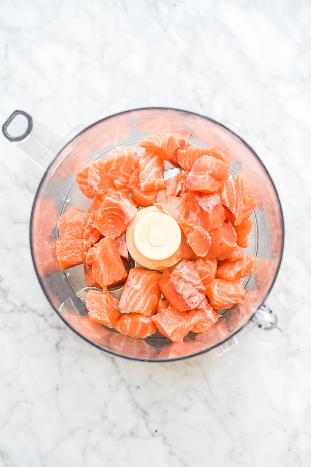 cubed salmon in a food processor