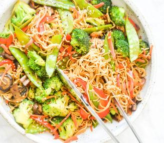 a large bowl of finished veggie noodle stir fry