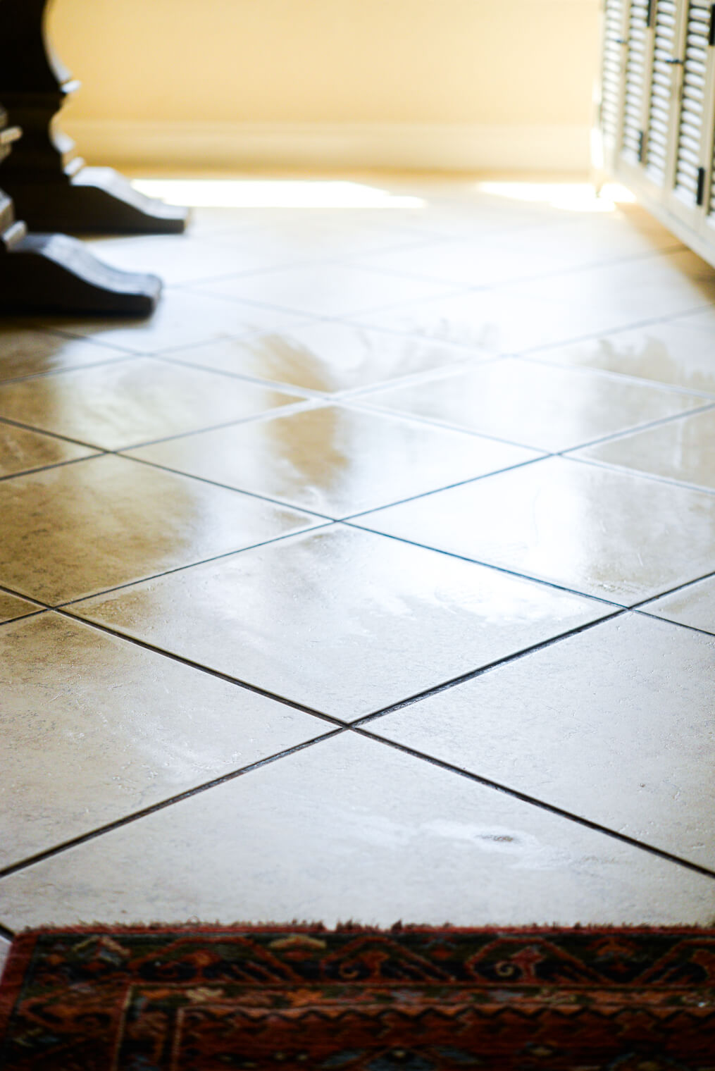 a cleanly mopped tile floor