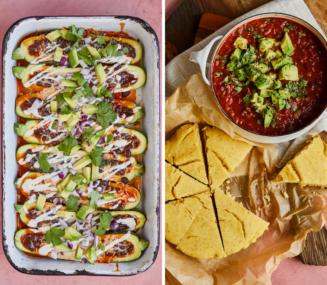 2 dinners using black beans -- enchilada zucchini boats and vegetarian chili with vegan cornbread