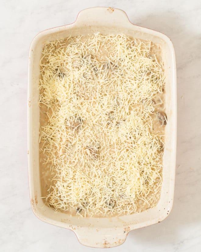 a casserole dish of creamy chicken and rice casserole