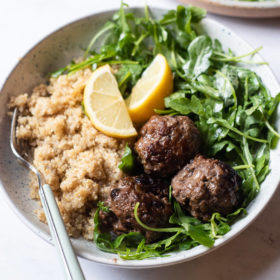 Greek-Inspired Meatballs with Quinoa and Arugula Salad