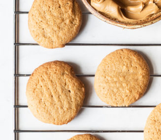 3 ingredient peanut butter cookies on a cookie rack