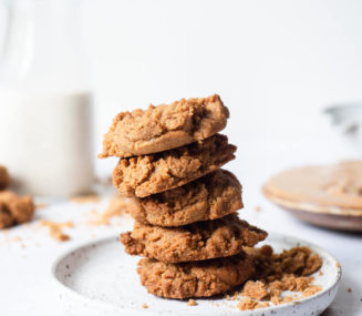 a stack of keto peanut butter cookies on a plate