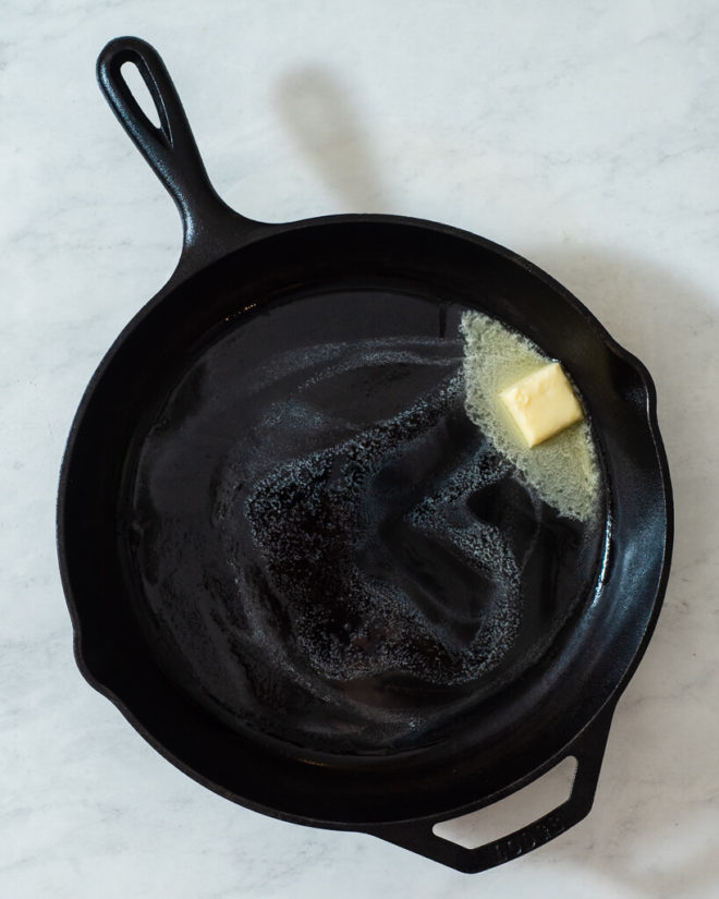 a cast iron skillet of butter