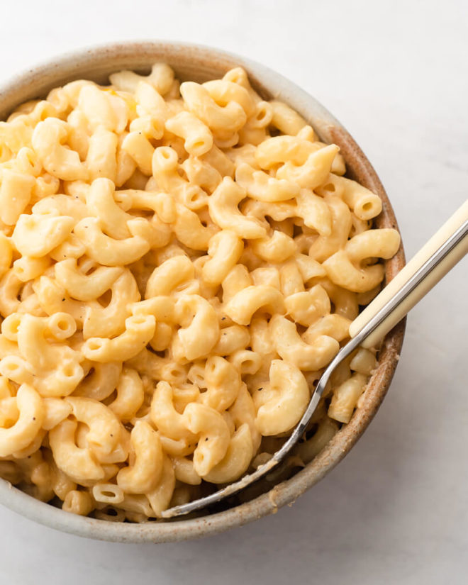 a bowl of instant pot mac and cheese