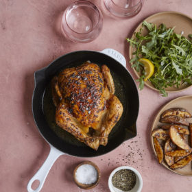 Whole Roasted Chicken and Potatoes with Fresh Arugula Salad