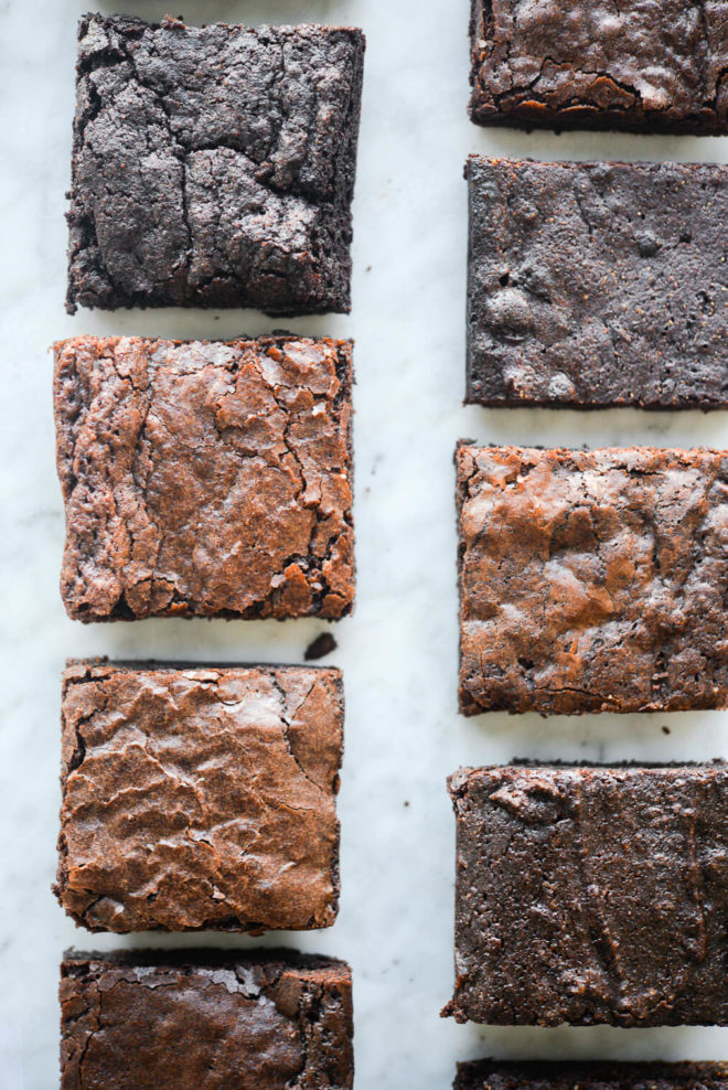 a close up photo of different boxed brownie slices